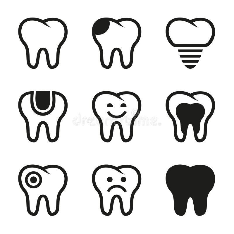Icônes de vecteur de dent réglées illustration libre de droits