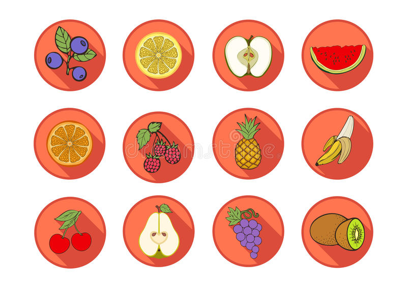 Icônes de vecteur de fruit Divers fruits et baies d'icônes multicolores réglées dans un cadre orange rond avec une ombre biseauté illustration libre de droits
