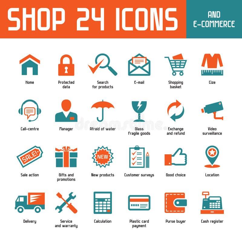 Icônes de vecteur de la boutique 24 illustration libre de droits