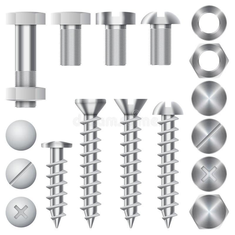 Icônes de vecteur de matériel de construction Vis, boulons illustration de vecteur
