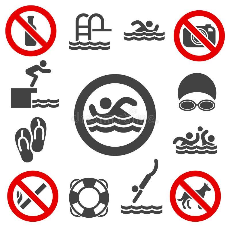 Icônes de vecteur de natation illustration de vecteur