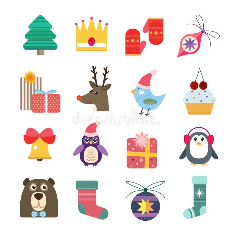Icônes de vecteur de Noël réglées illustration stock