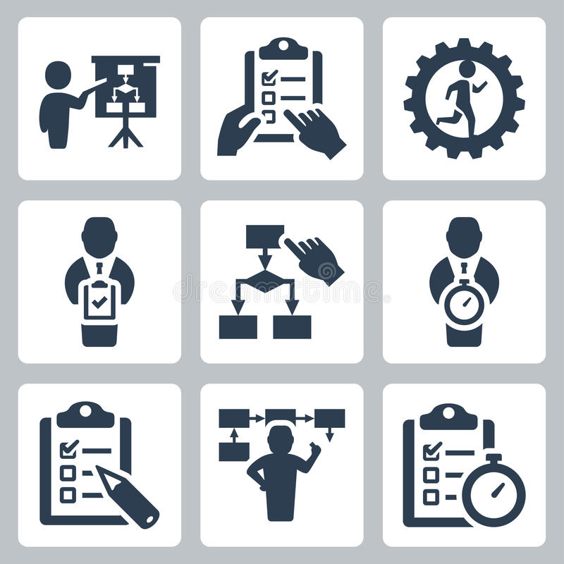 Icônes de vecteur de planification et de stratégie commerciale illustration de vecteur