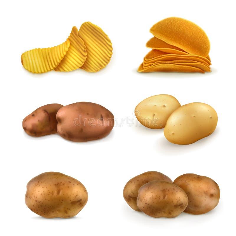 Icônes de vecteur de pommes de terre et de pommes chips illustration libre de droits