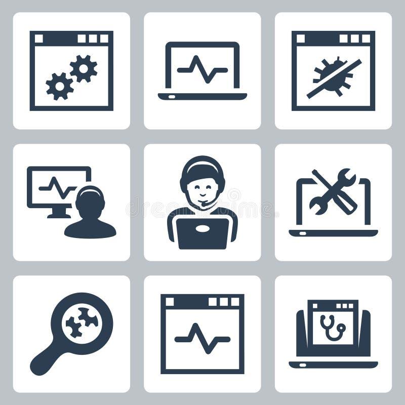 Icônes de vecteur de service d'assistance d'ordinateur illustration stock