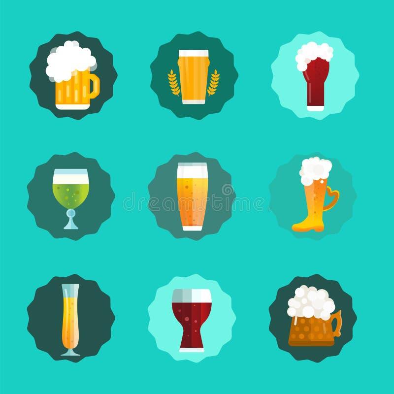 Icônes de vecteur de signe de bouteille à bière réglées illustration stock
