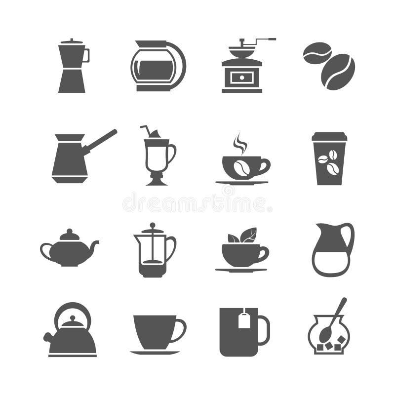 Icônes de vecteur de tasse et de thé de café illustration libre de droits