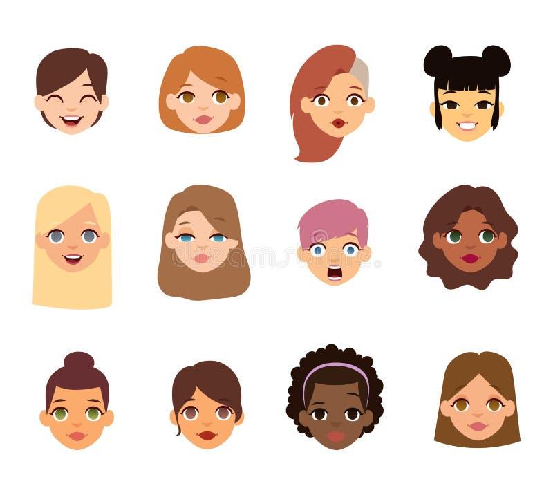 Icônes de vecteur de visage d'emoji de femme illustration libre de droits