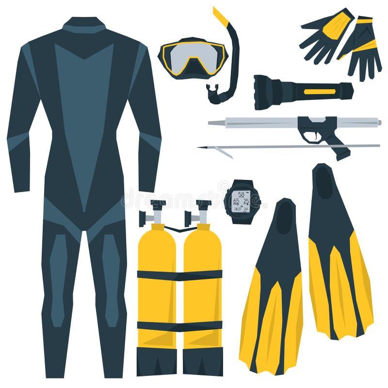 Icônes de vecteur réglées de l'équipement de plongée illustration stock