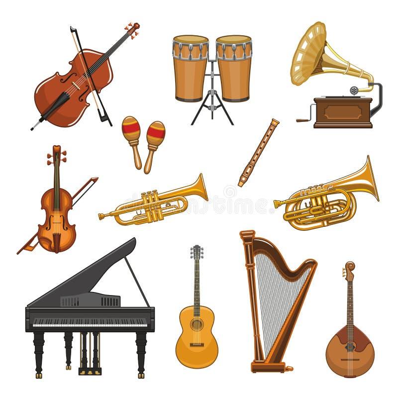 Icônes de vecteur réglées des instruments de musique illustration de vecteur