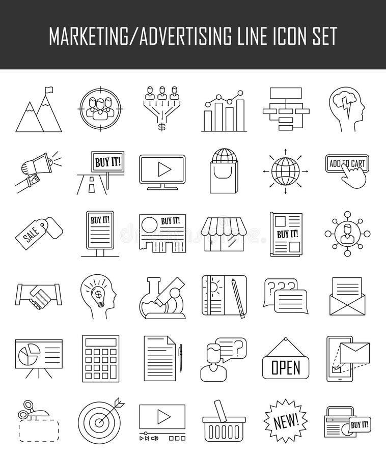 icônes de vente Signes de la publicité et de media illustration stock