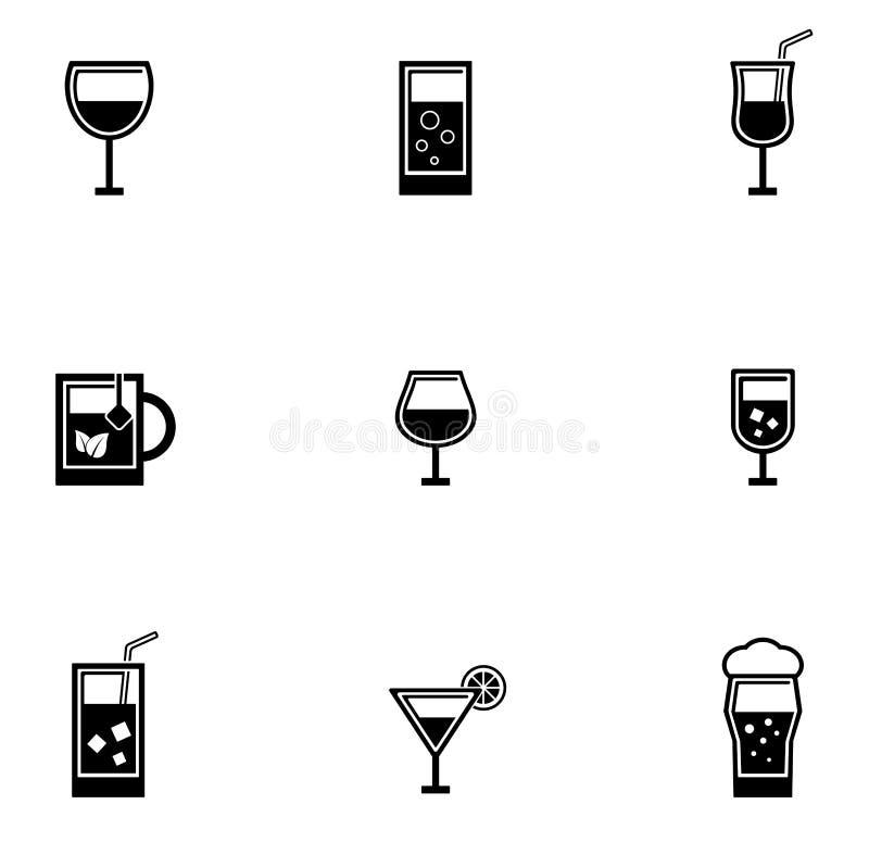 Icônes de verres à boire réglées illustration stock