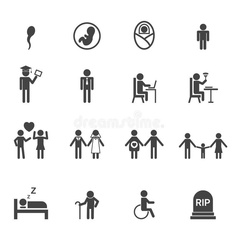 Icônes de vie humaine illustration libre de droits