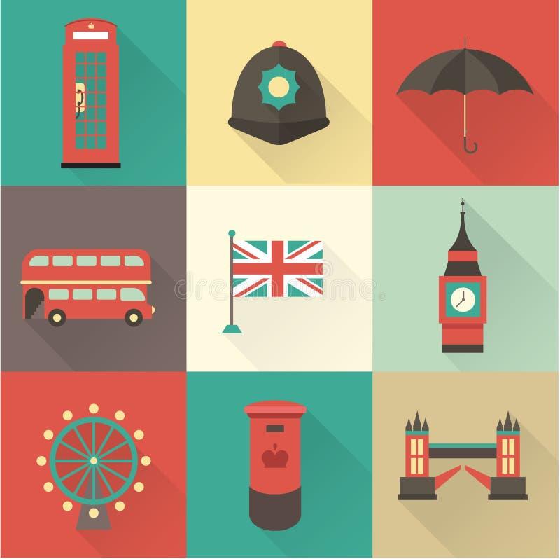 Icônes de vintage de Londres illustration stock