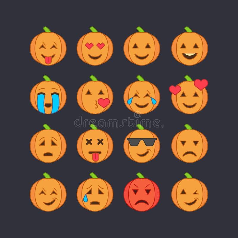Icônes de visage d'émoticône de Halloween réglées illustration de vecteur