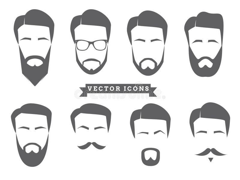 Icônes de visage de vecteur illustration stock