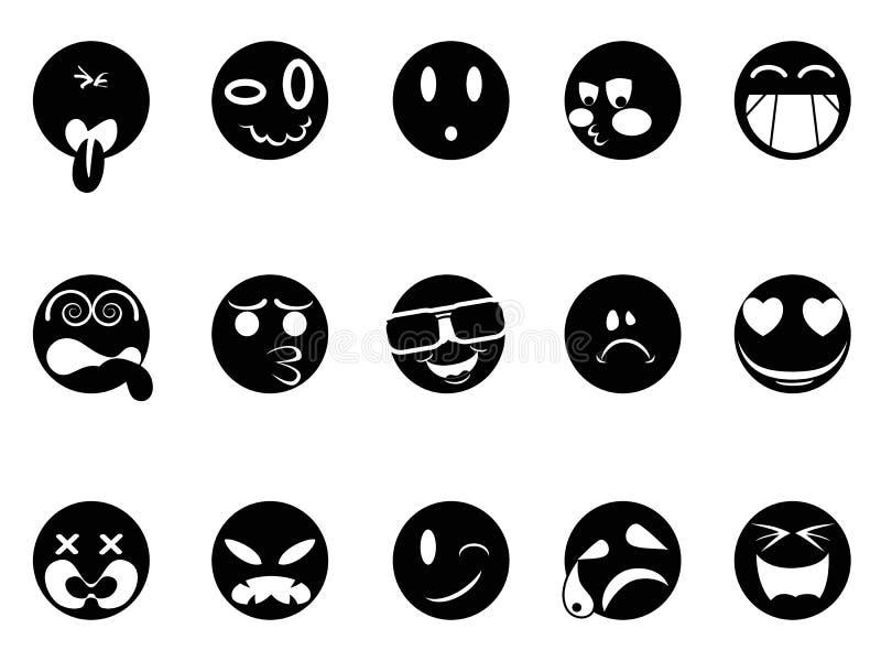 Icônes de visage noir illustration stock