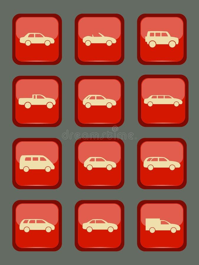 Icônes de voiture réglées sur un bouton rouge illustration libre de droits