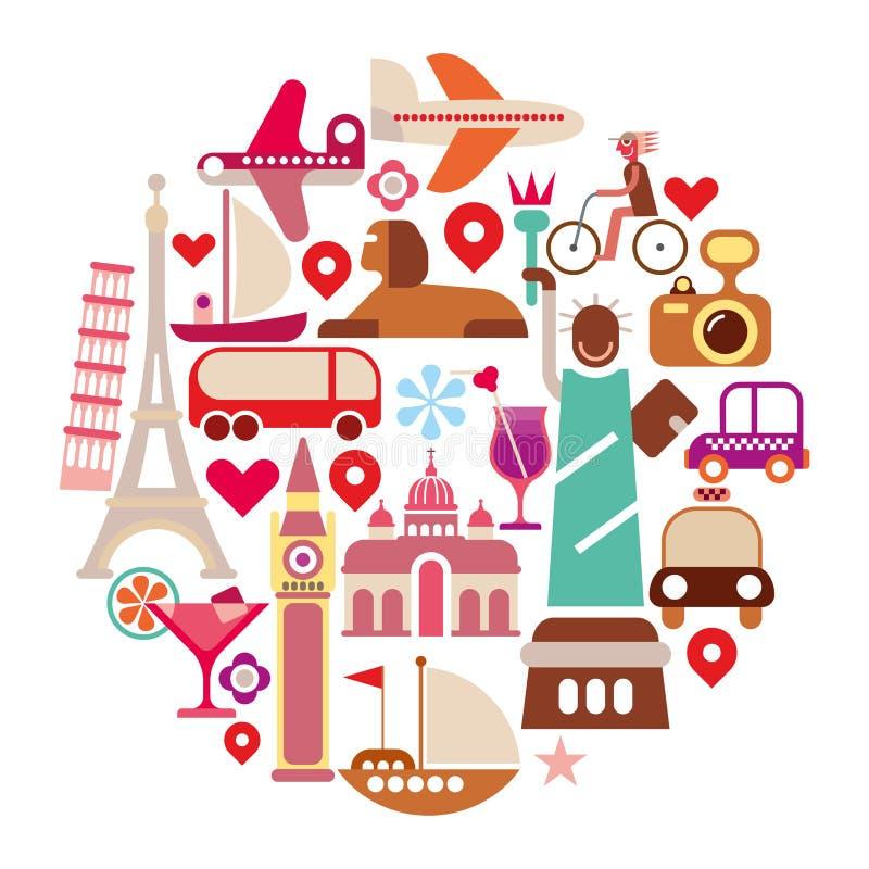 Icônes de voyage illustration libre de droits