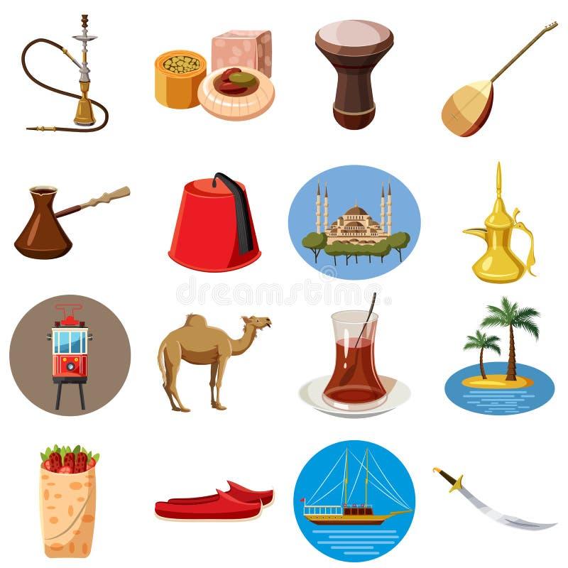Icônes de voyage de la Turquie réglées, style de bande dessinée illustration de vecteur