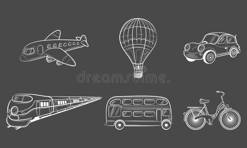 Icônes de voyage de transport de croquis d'aspiration de main illustration de vecteur