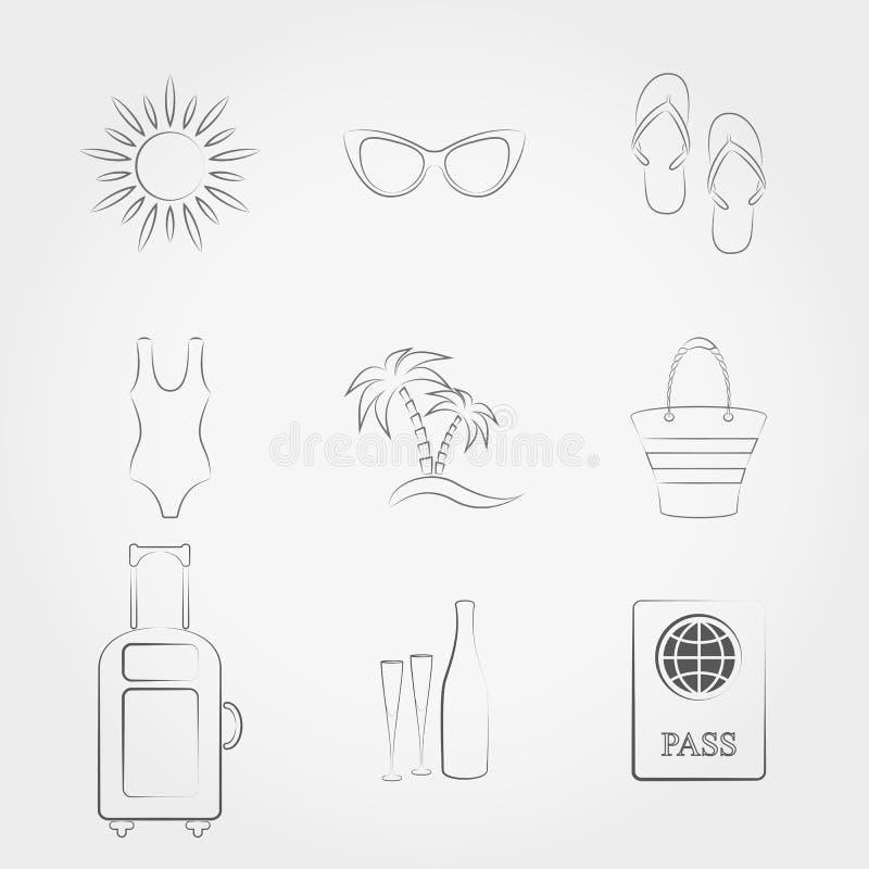 Icônes de voyage et de vacances d'été réglées illustration de vecteur