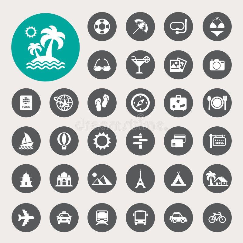 Icônes de voyage et de vacances réglées illustration libre de droits