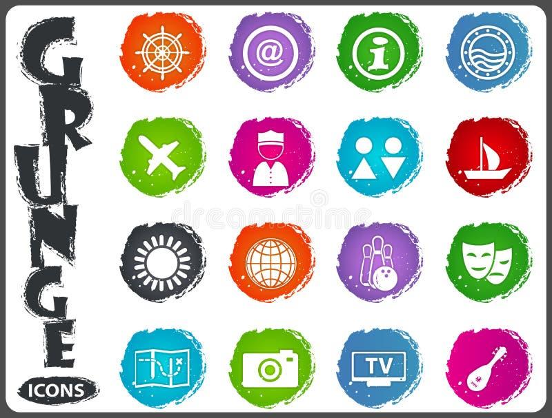 Icônes de voyage réglées dans le style grunge illustration stock