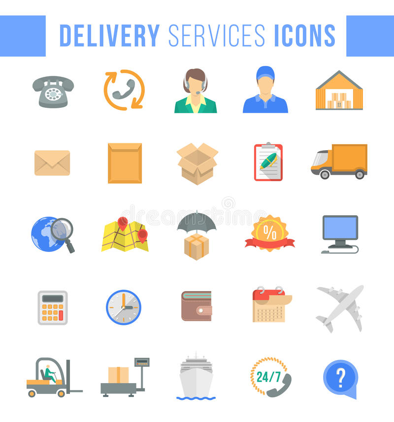 Icônes de Web d'appartement service compris de la livraison et de logistique illustration stock