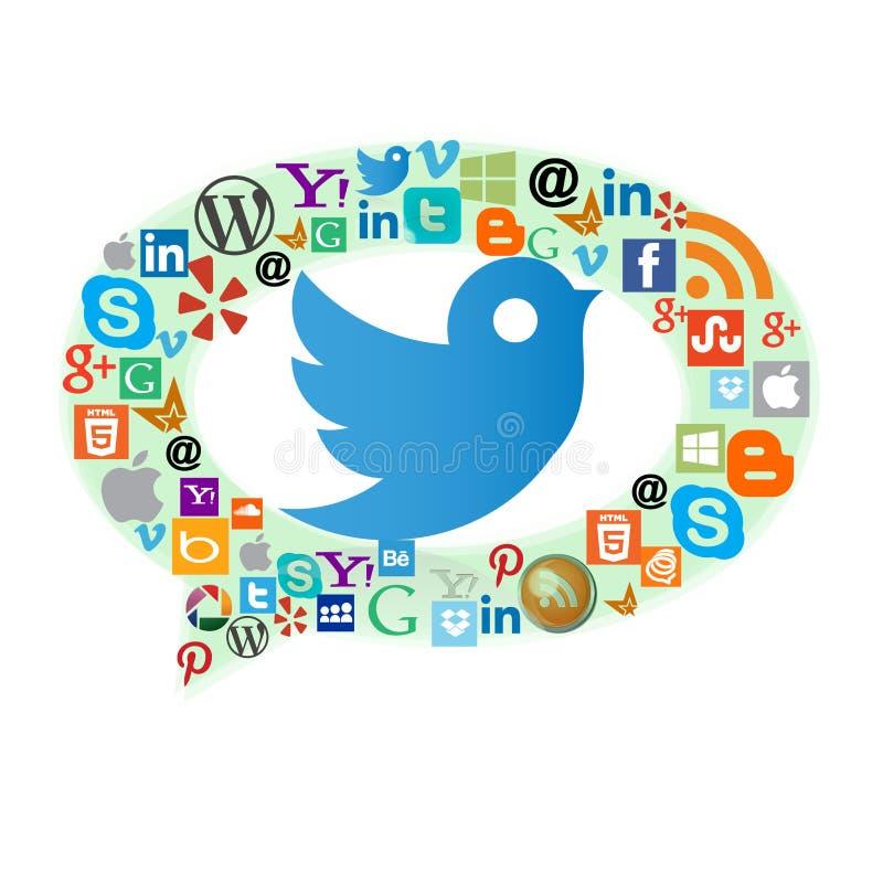 Icônes de Web de les plus populaires avec l'oiseau de Twitter illustration libre de droits