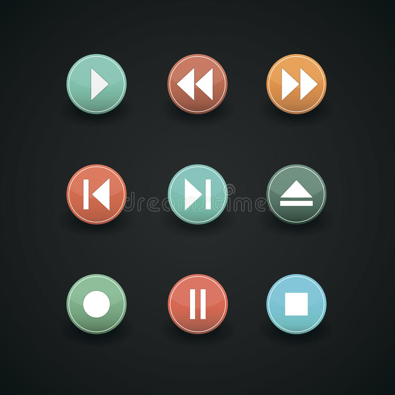 Icônes de Web de media player illustration libre de droits
