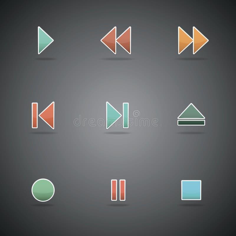 Icônes de Web de media player illustration stock