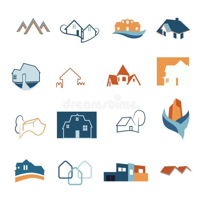 Icônes de Web de Real Estate réglées Logos de Chambre Logo de construction Vecteur illustration de vecteur