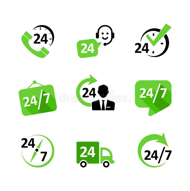 Icônes de Web - 24 services d'heure, la livraison, appui, pH illustration stock