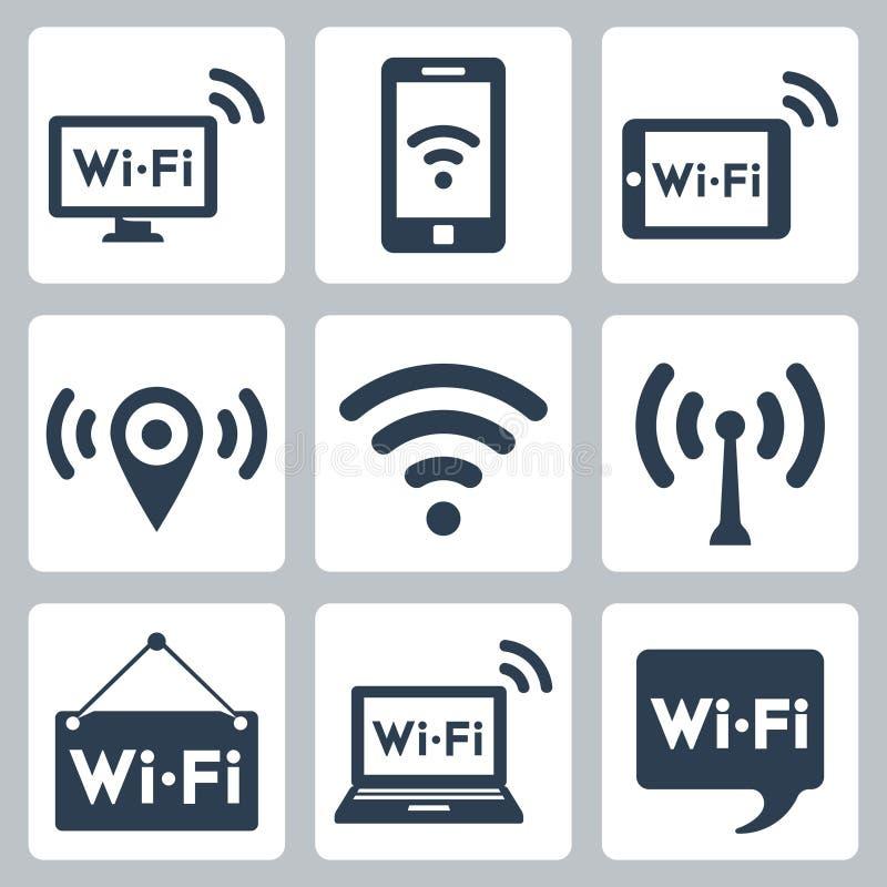 Icônes de wifi de vecteur réglées illustration de vecteur