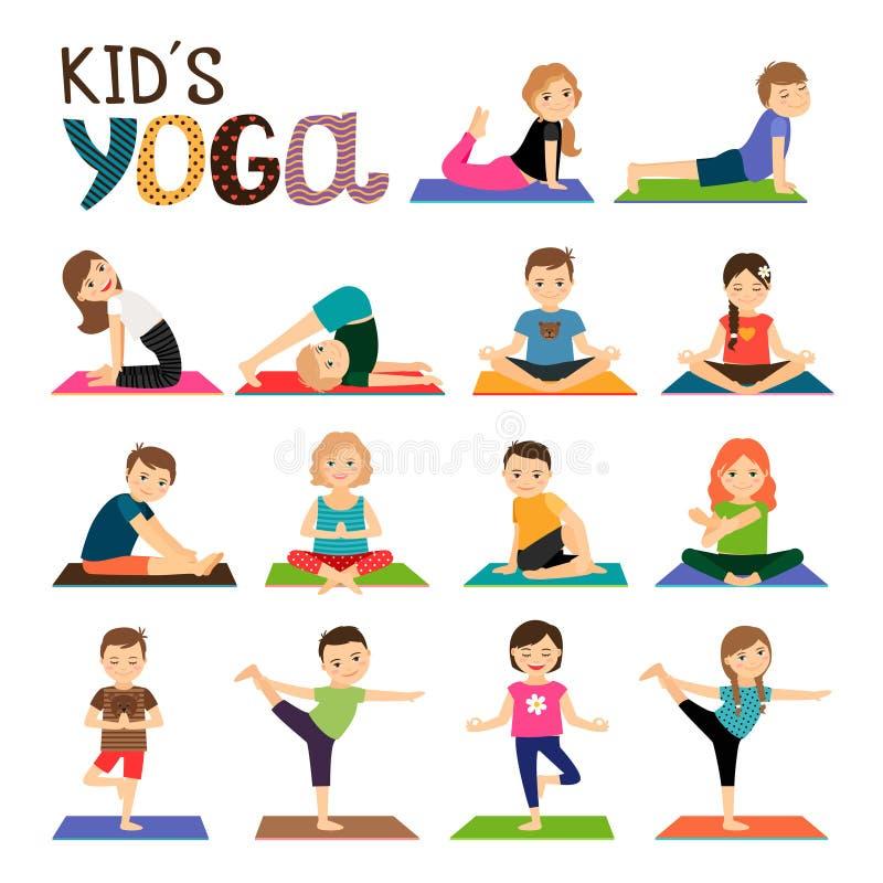 Icônes de yoga d'enfants réglées illustration stock
