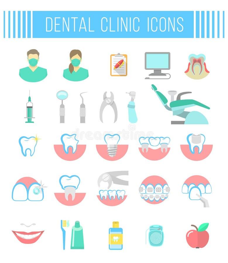 Icônes dentaires d'appartement service compris de clinique sur le blanc illustration de vecteur