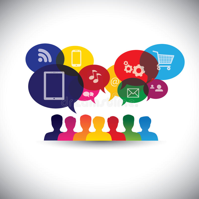 Icônes des consommateurs ou des utilisateurs en ligne dans le media social, faisant des emplettes illustration de vecteur