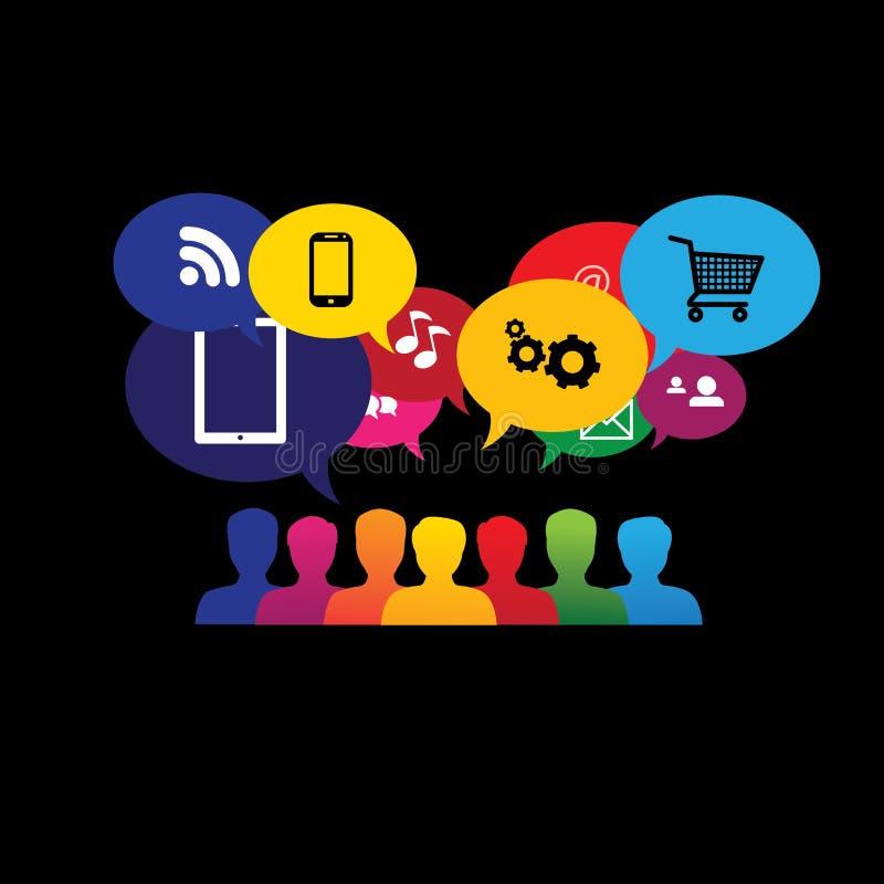 Icônes des consommateurs ou des utilisateurs en ligne dans le media social, faisant des emplettes - v illustration de vecteur