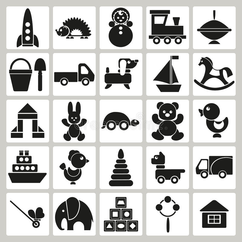 Icônes des jouets pour enfants illustration de vecteur