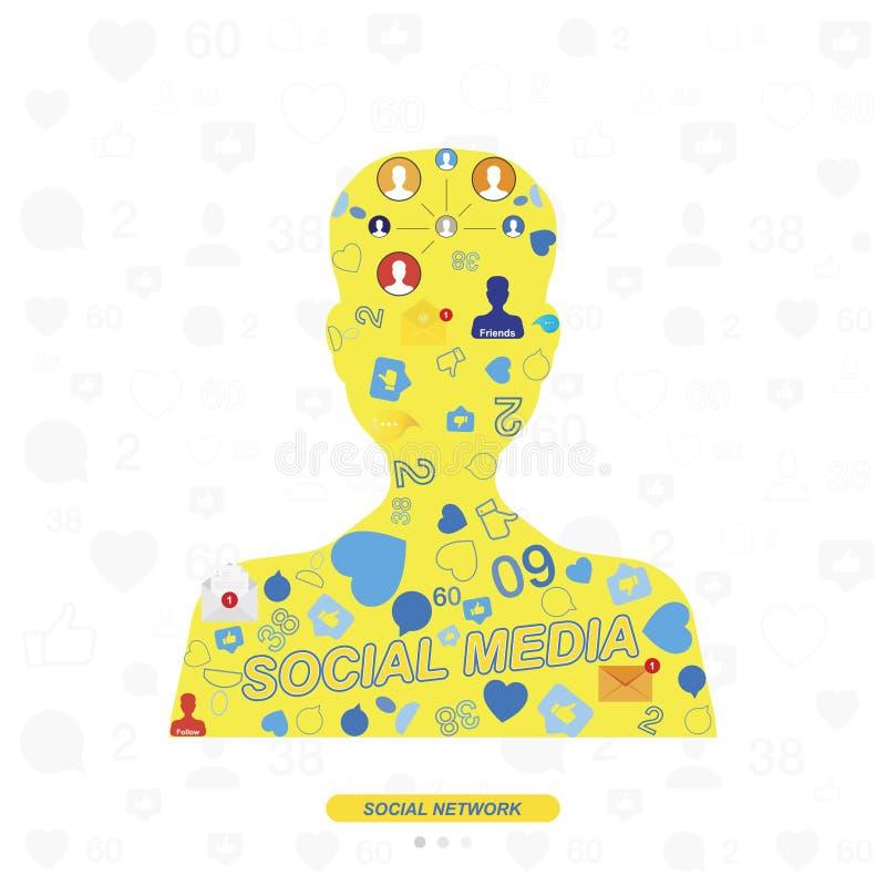 Icônes des réseaux sociaux et symboles des avis sur le fond de la silhouette de l'avatar Illustration plate illustration stock