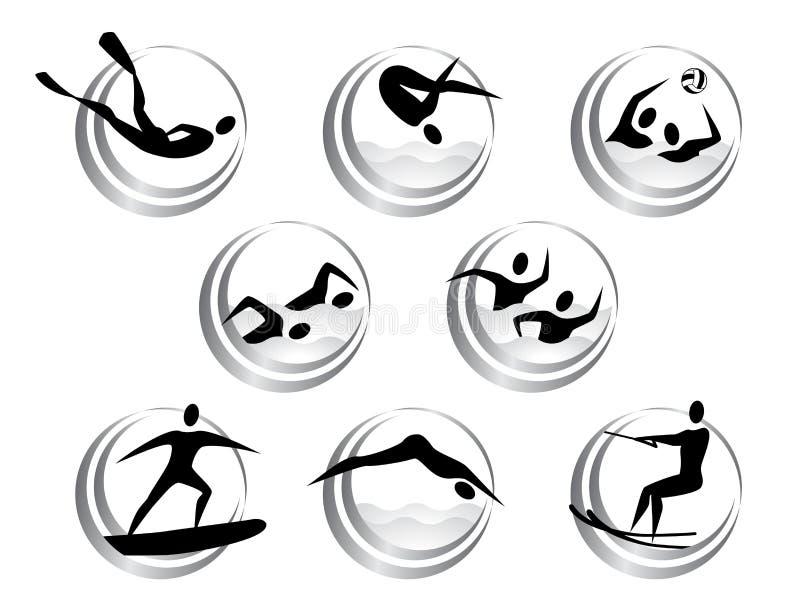 Icônes des sports aquatiques d'été illustration de vecteur