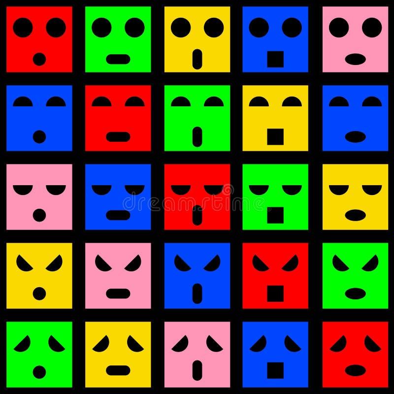 Icônes des visages souriants d'émotion. illustration de vecteur