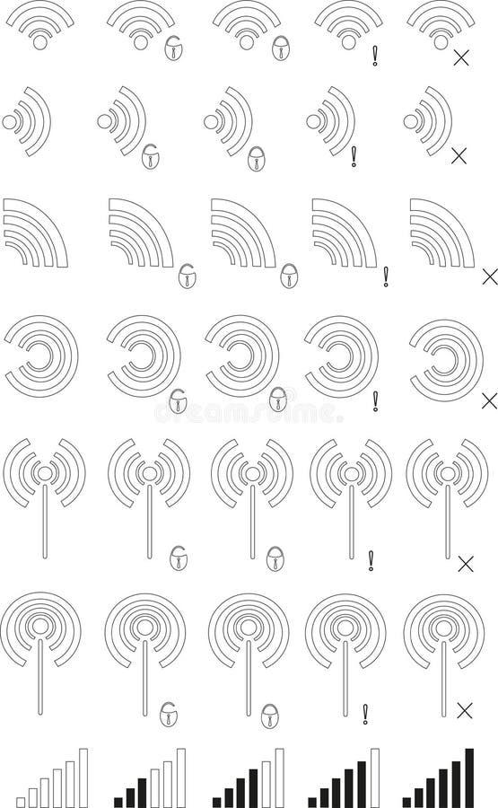 Icônes des zones de WI fi Lignes minces noires sur le fond blanc, rond, place, floc, château, croix illustration de vecteur