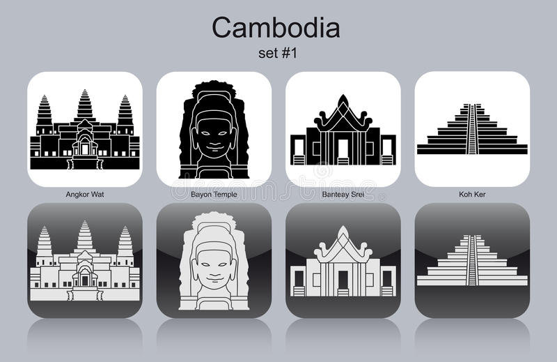 Icônes du Cambodge illustration de vecteur