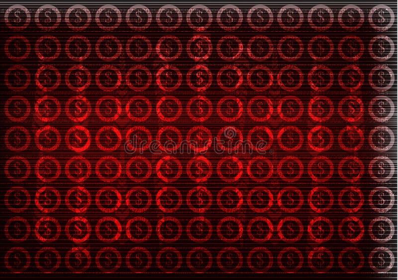 Icônes du dollar sur un fond rouge De pointe illustration de vecteur