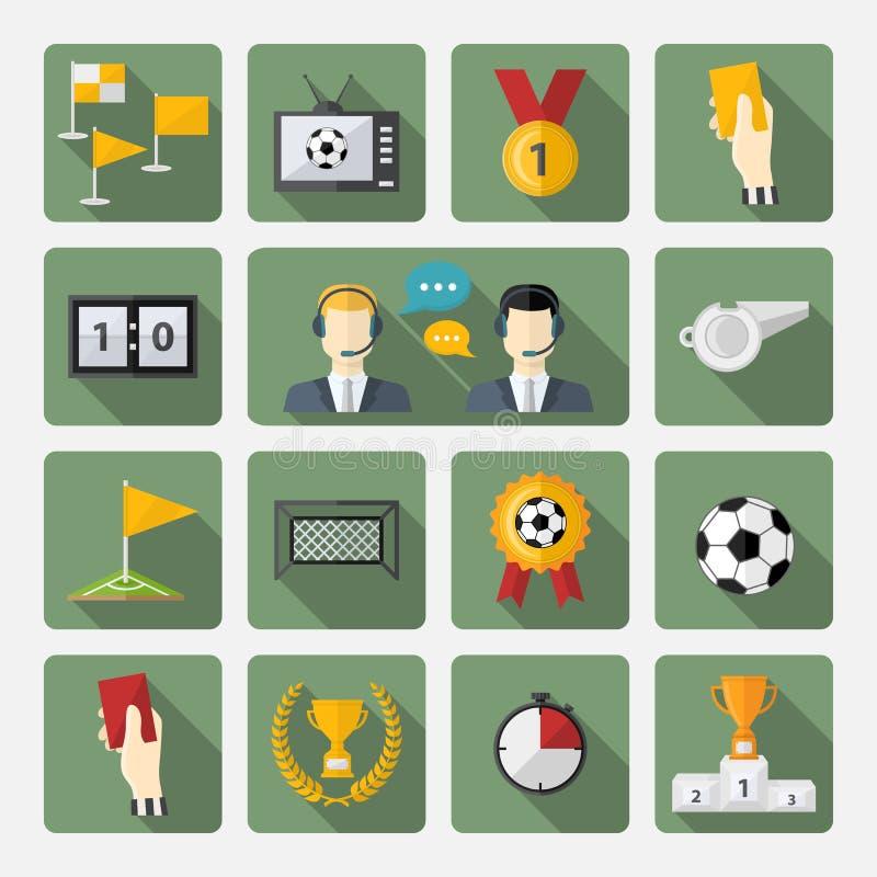 Icônes du football réglées illustration libre de droits