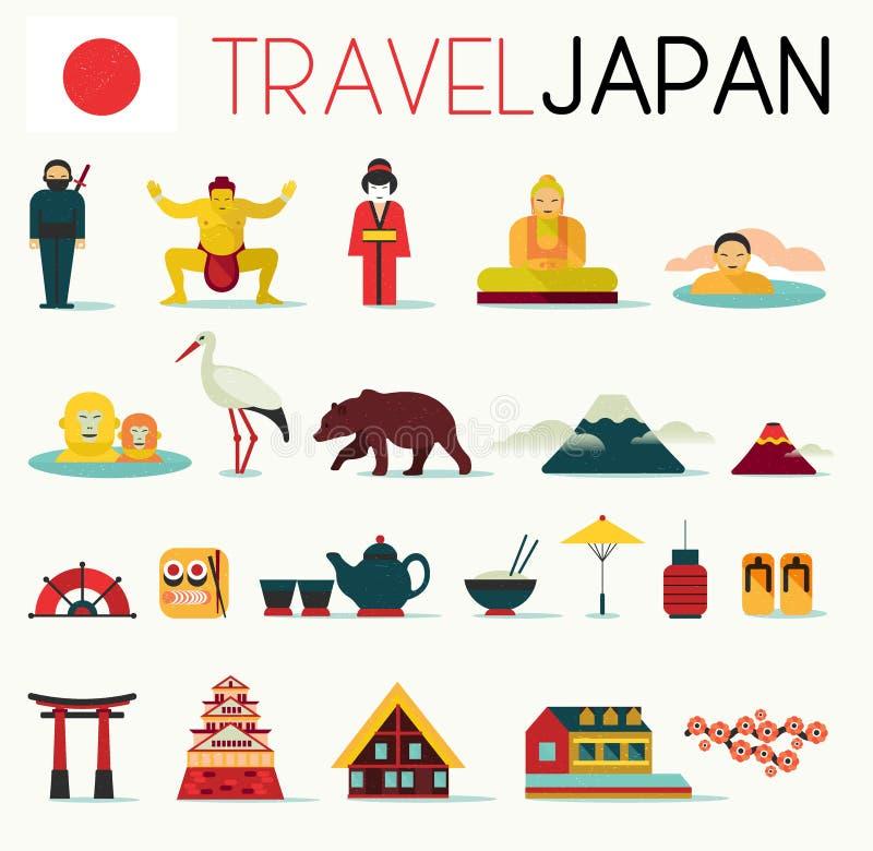 Icônes du Japon de voyage illustration stock