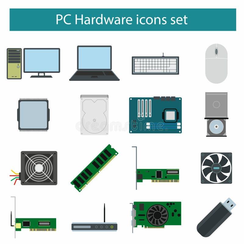 Icônes du matériel de PC réglées illustration de vecteur