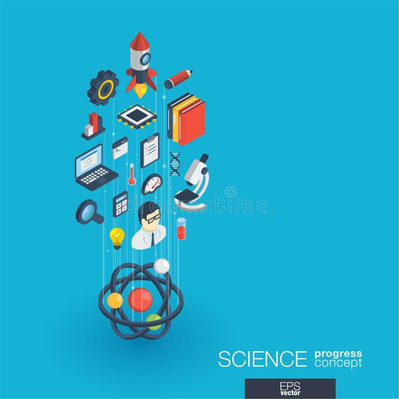 Icônes du Web 3d intégrées par Science Concept de croissance et de progrès illustration stock